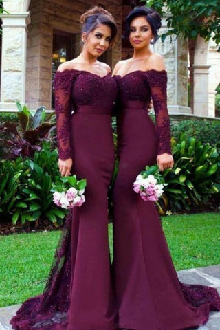 2021 Long Sleeves Mermaid Satin With Applique Bridesmaid