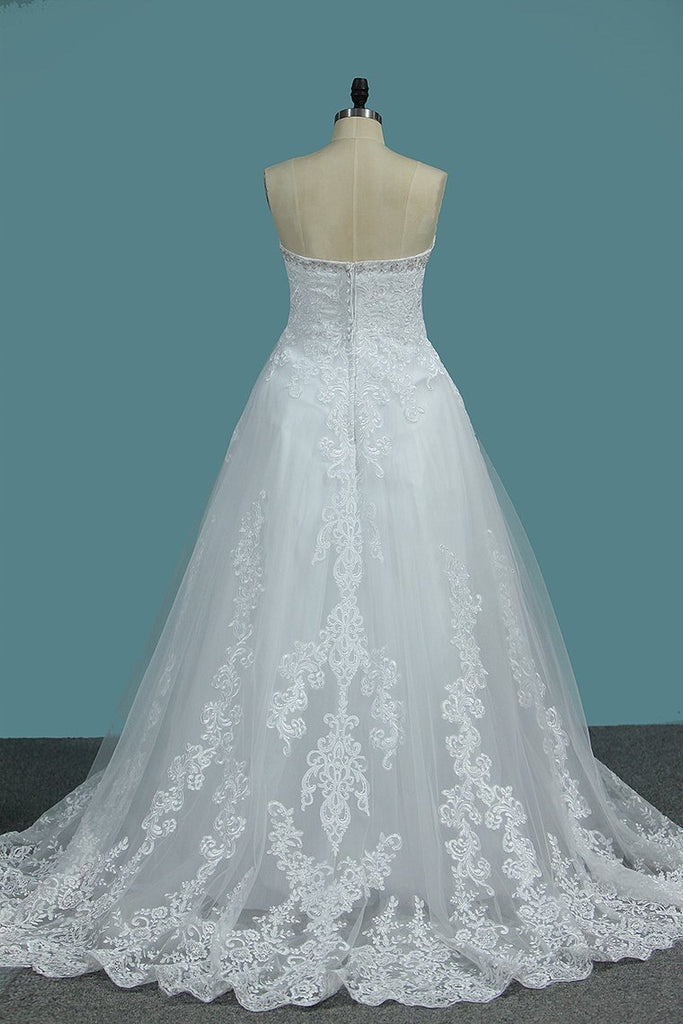 Sweetheart A Line Tulle Wedding Dresses With