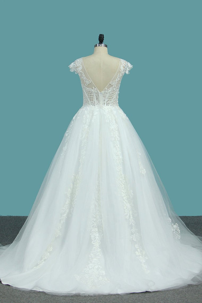 Scoop Short Sleeves Tulle A Line Wedding Dresses With Applique