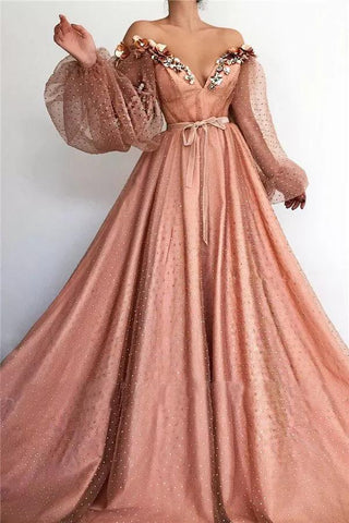 Stunning Long Sleeve Sexy Off the Shoulder Tulle Beading Prom Dresses V Neck Party Dresses SME15436