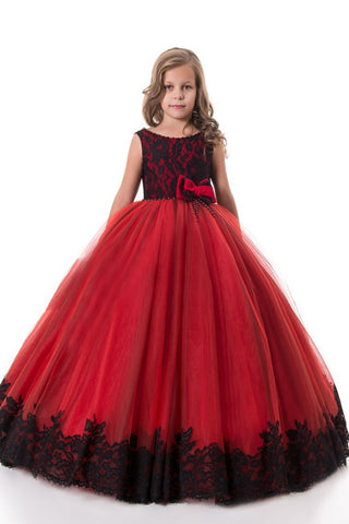 2021 Flower Girl Dresses Ball Gown Scoop Tulle With Applique And Bow
