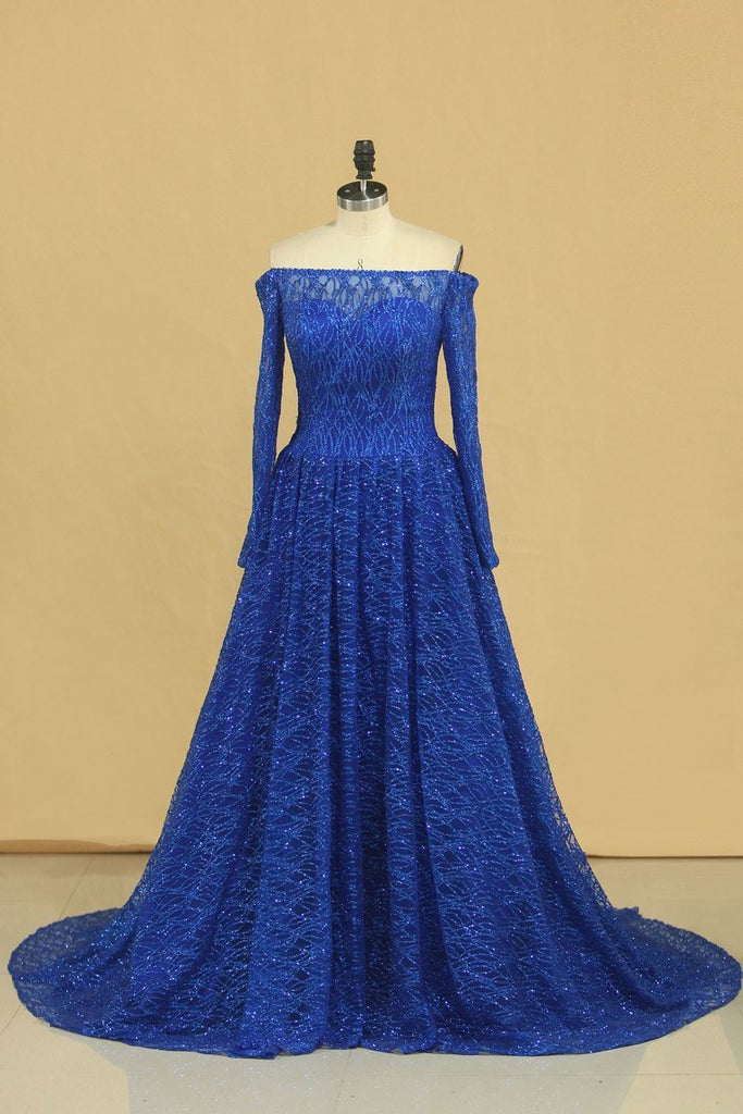2019 Prom Dresses Boat Neck Long Sleeves A Line Tulle With Beading Sweep Train