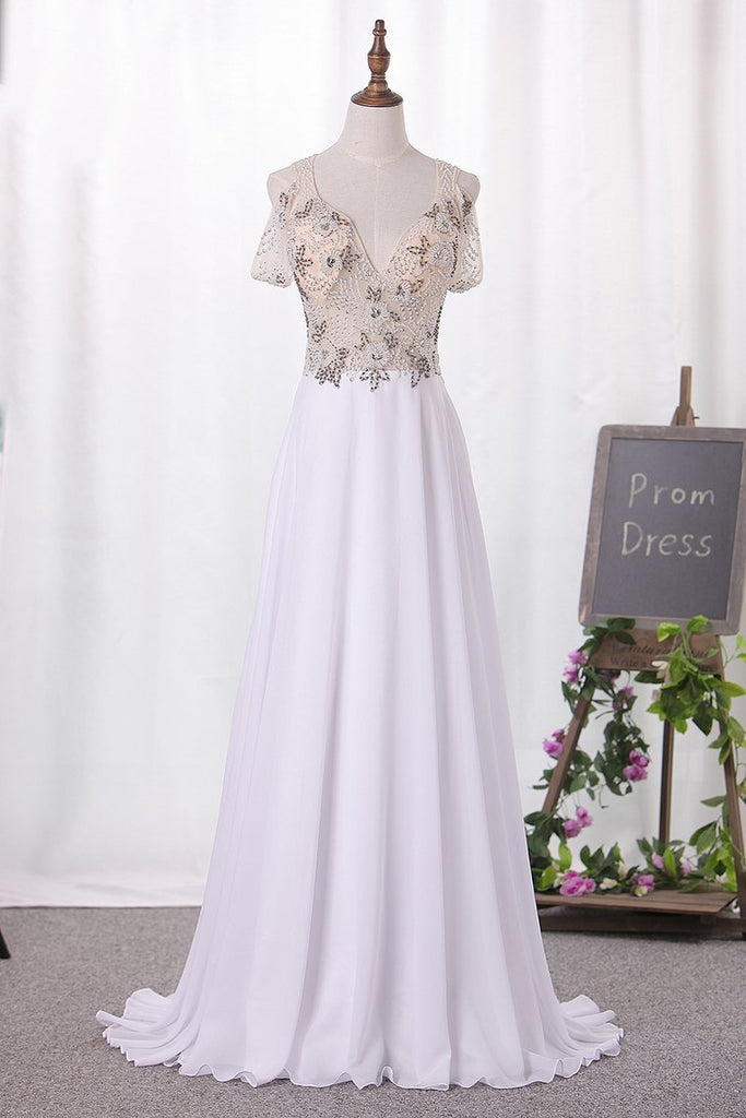 2020 A Line Straps Chiffon Prom Dresses Beaded Bodice Sweep