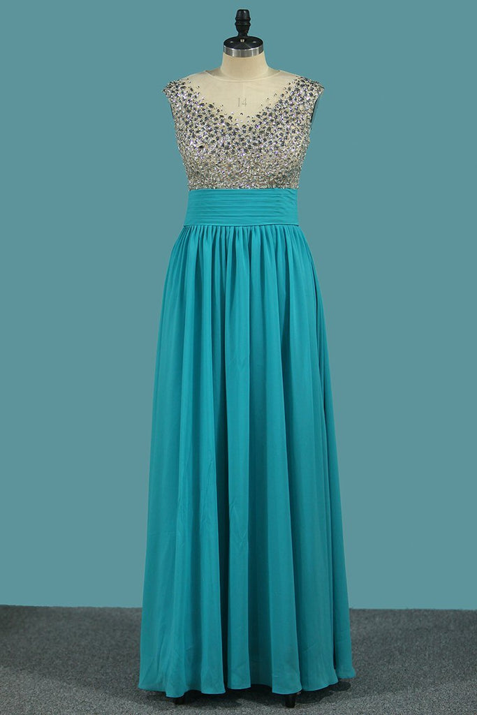 2020 Chiffon A Line Scoop Prom Dresses With Beaded Bodice And