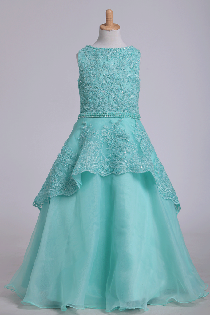 2020 Bateau A Line Flower Girl Dresses With Applique & Beads Tulle Mint