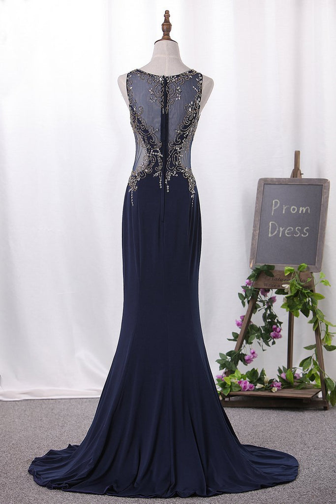2020 Chiffon Mermaid Prom Dresses Scoop With Beading Floor