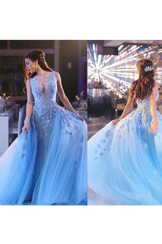 2019 Scoop Prom Dresses Mermaid Tulle With Applique Sweep