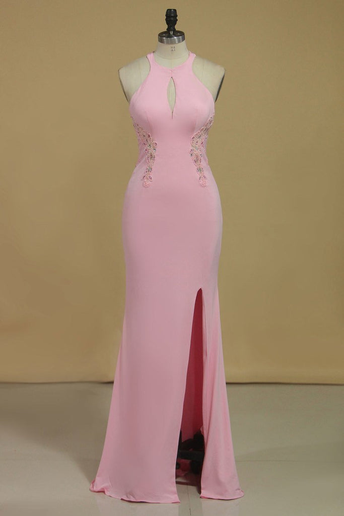 Sheath Scoop With Beading And Slit Prom Dresses Sweep Train