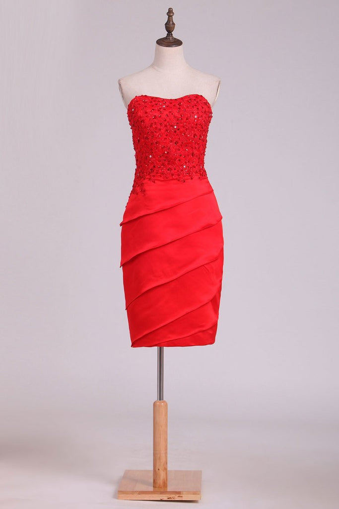 Sheath Mother Of The Bride Dresses Strapless With Beading And Applique