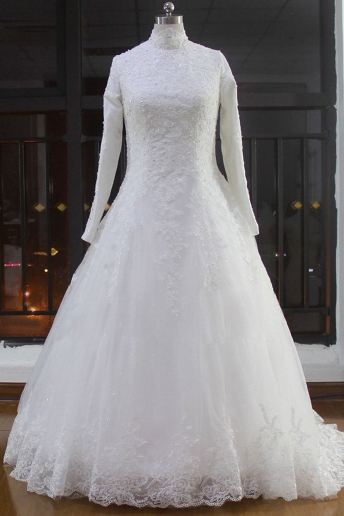 2021 High Neck Wedding Dresses A Line Tulle Muslim With Applique