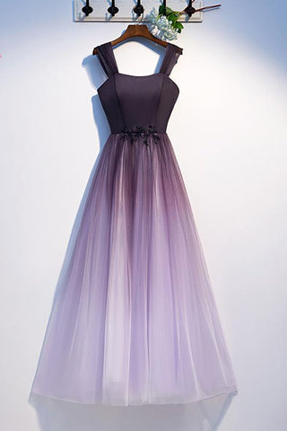 Unique A Line Ombre Purple Beading Prom Dresses with Lace up, Long Dance Dresses SME15603