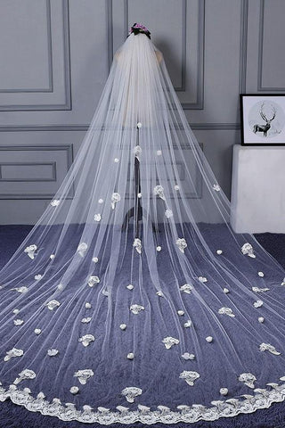 3M Tulle Ivory Wedding Veils with Appliques, Fashion Hand Made Flowers Wedding Veils SME15544