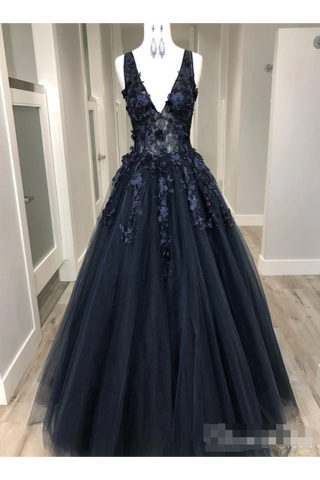 Black Deep V Neck Appliqued Prom Dresses See Through Floor Length Formal