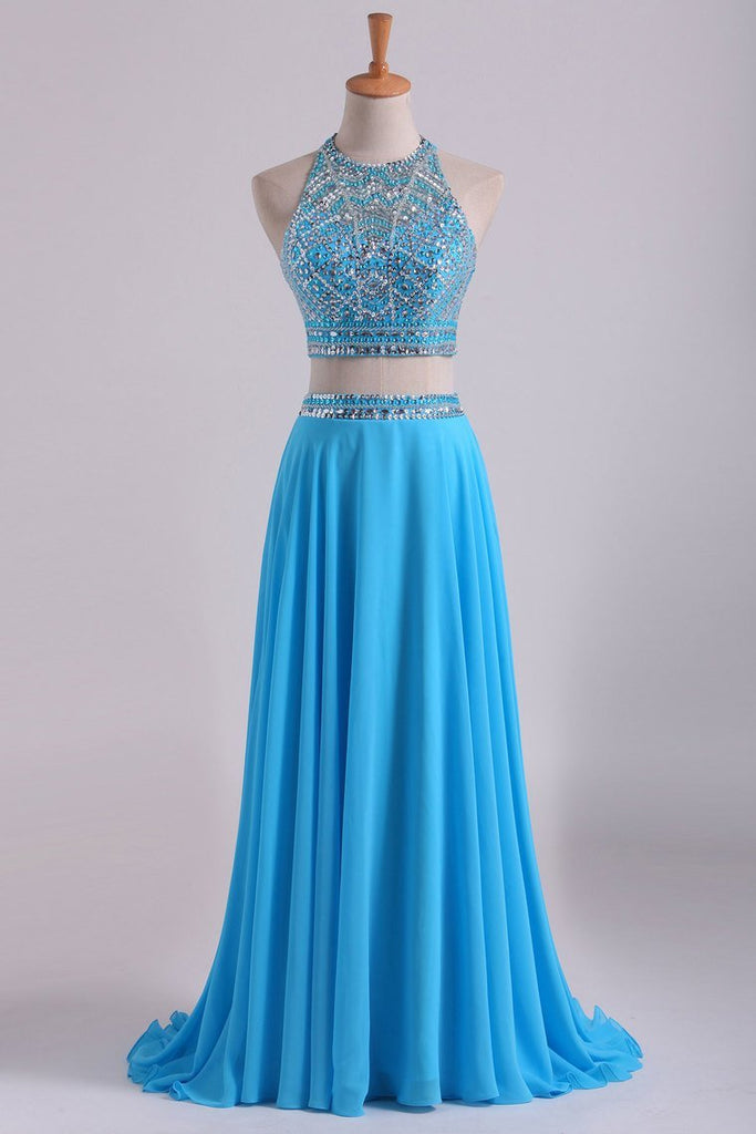 Two-Piece A Line Prom Dresses Beaded Bodice Open Back Chiffon &