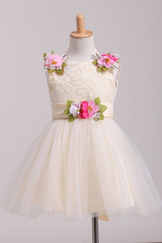 2019 Scoop Flower Girl Dresses A-Line With Flowers Lace &