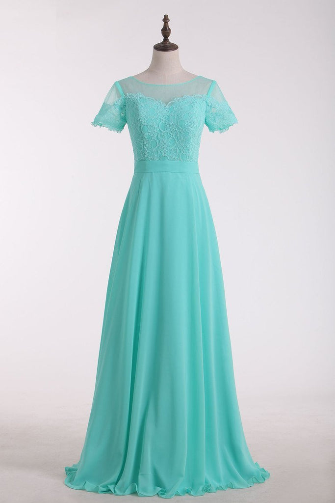2020 Bridesmaid Dresses Scoop Short Sleeve Chiffon & Lace Floor Length