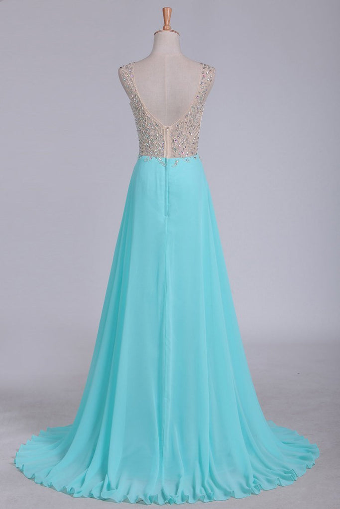2019 V Neck Beaded Bodice A Line Prom Dresses Chiffon & Tulle Sweep