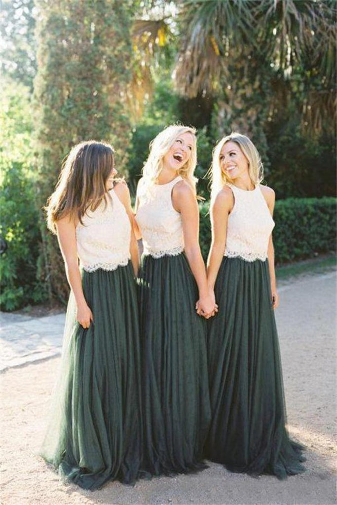 2 Pieces Ivory And Green Long Lace Tulle Beautiful Simple Bridesmaid
