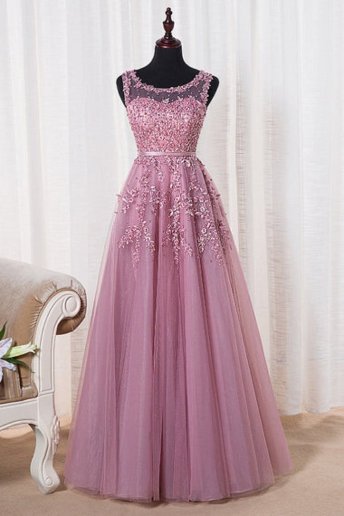 Scoop A Line Prom Dresses A Line Tulle With Applique Floor
