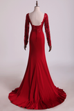 2020 Hot Long Sleeves Prom Dresses Spandex Mermaid With Applique Burgundy/Maroon