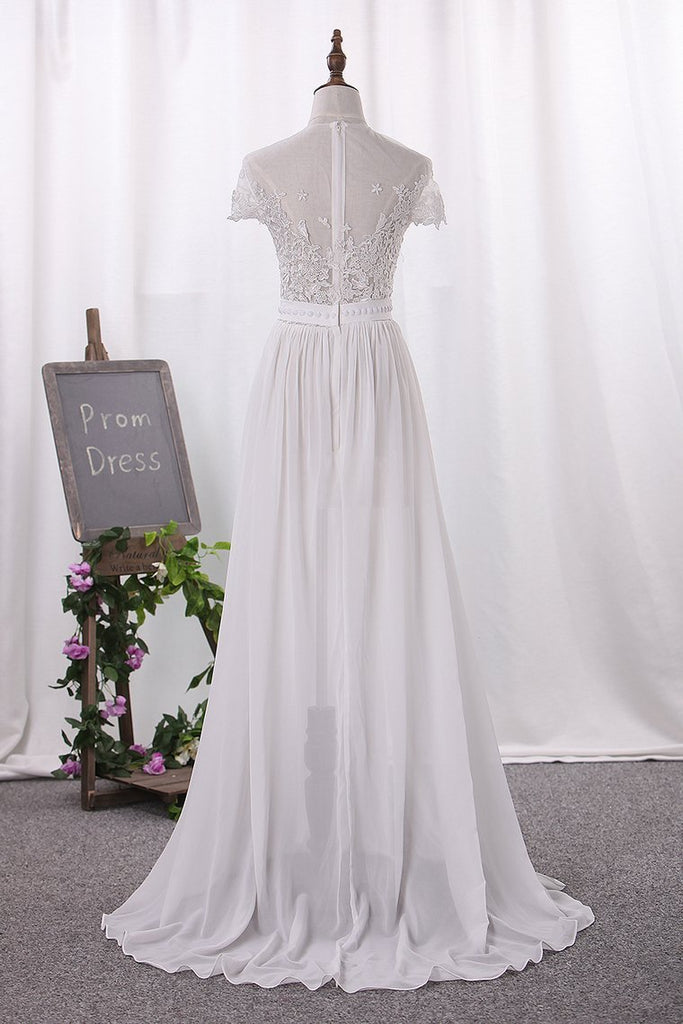 2020 Chiffon Bateau A Line Wedding Dresses With Applique And