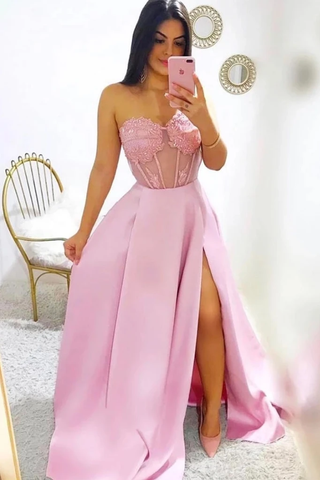 Modest A-Line Sweetheart Split Prom Dresses With SMEPYMS3DHT