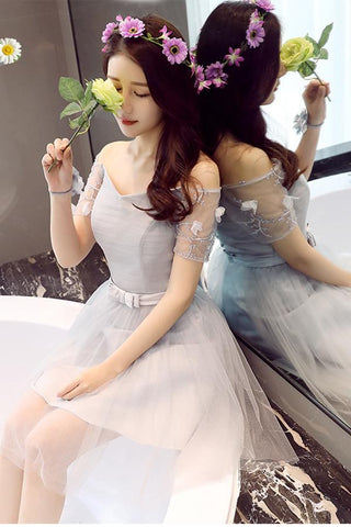 A Line Tulle Short Sleeves Off the Shoulder Gray Lace up Sweetheart Homecoming Dresses JS897
