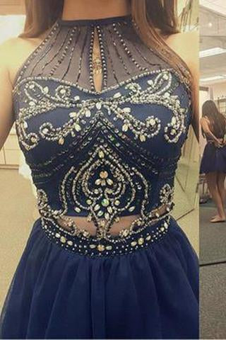 High Neck Halter Navy Blue Tulle Skirt Sleeveless Two Piece Short Prom Homecoming Dress JS74