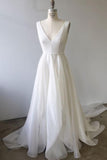 A Line Ivory Chiffon Long Wedding Gowns V Neck Straps V Back Beach Wedding Dresses W1037