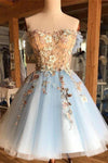 A Line Light Blue Off the Shoulder Above Knee Homecoming Prom Dress with Appliques JS939