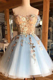 A Line Light Blue Off the Shoulder Above Knee Homecoming Prom Dress with Appliques SM939