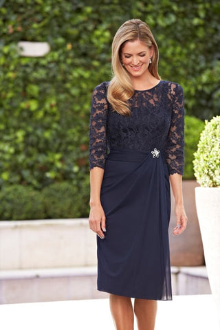 A Line Navy Blue Lace 3/4 Sleeve Short Chiffon Scoop Mother of the Bride Dresses SME423