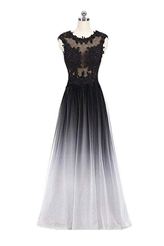 A Line Ombre Lace Appliques Prom Dresses Long Cheap Evening Dresses SM851
