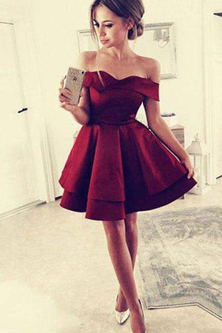A Line Satin Burgundy Off the Shoulder Sweetheart Above Knee Homecoming Dresses JS926