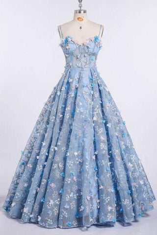A Line Spaghetti Straps Sweetheart 3D Flower Applique Sky Blue Prom Dresses JS426