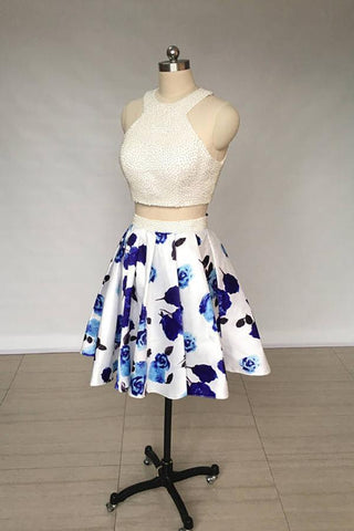 A Line Two Piece Ivory Jewel Floral Print Satin Short Homecoming Dress with Pearls JS818