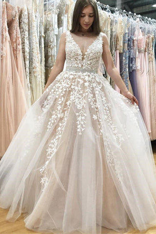 A Line V Neck Long Ivory Lace Appliques Wedding Dresses Beads Tulle Prom Dresses SME598
