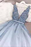 A Line V Neck Plunging Neck Powder Blue V Back Prom Dress with Beading Evening Dress P1038