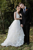 A Line V Neck Floor Length Wedding Dresses, Ivory Sleeveless Bridal Dresses