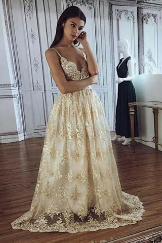 A line Spaghetti Straps Deep V Neck Lace Appliques Wedding Dresses Bridal Dresses SM935