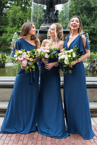A Line Chiffon Simple Floor Length Cheap Custom Bridesmaid Dresses