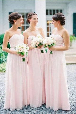 Simple Sweetheart Chiffon Pleats Pink Long Bridesmaid Dresses, Cheap Bridesmaid Gown
