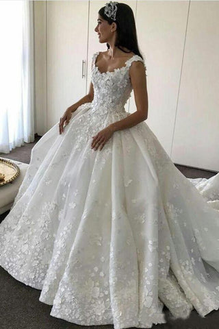 Ball Gown Backless Lace Appliques Wedding Dresses Sweetheart Bridal Dresses SME560