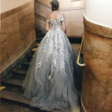 Ball Gown Gray Off the Shoulder Tulle Prom Dresses with Lace Appliques JS685
