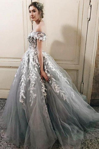 Ball Gown Gray Off the Shoulder Tulle Prom Dresses with Lace Appliques SME685