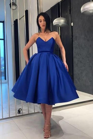 Ball Gown V Neck Royal Blue Strapless Satin Homecoming Dresses with Pockets H1091