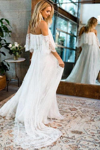 Beach Wedding Dresses Half Sleeve Off the Shoulder Lace Sexy Simple Boho Bridal Gowns SME1029