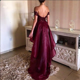 High-low Prom Dress Asymmetrical Prom Dresses Appliques Lace Backless Prom Dresses JS167