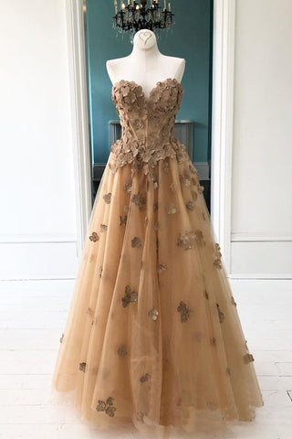 Elegant A-Line Sweetheart Appliqued Brown Prom