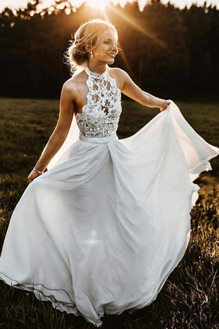 Charming Lace White Halter Long Wedding Dresses Chiffon Beach Bridal Dresses SME615